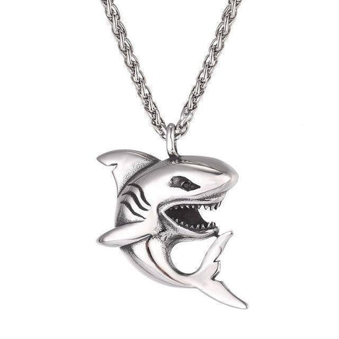 Image of Fish-Trapp Chain Stainless Steel Stainless Steel Big Shark Pendant Necklace