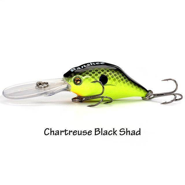Fish-Trapp Lures Chartreuse Black Sha Banshee Profound Pulse Floating Bass Fishing Lure