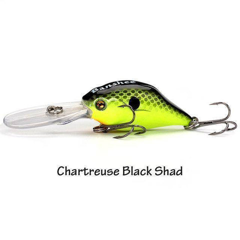 Image of Fish-Trapp Lures Chartreuse Black Sha Banshee Profound Pulse Floating Bass Fishing Lure