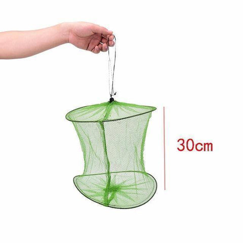 Image of Fish-Trapp Trap Nets 30cm Fishing Landing Tackle Folding Round Metal Fish Net