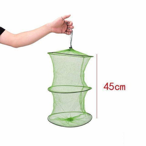 Fish-Trapp Trap Nets 45cm Fishing Landing Tackle Folding Round Metal Fish Net