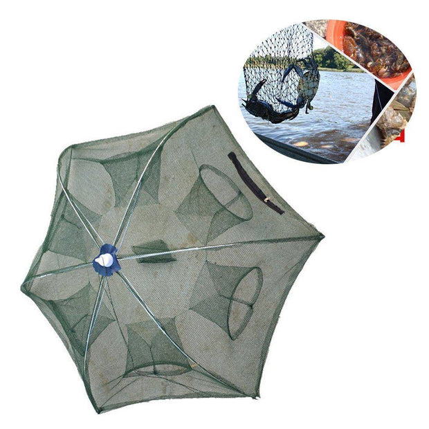 Fish-Trapp Trap Nets Portable Hexagon 6 Hole Automatic Fishing Mesh Trap