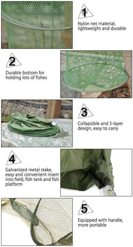 outlife Official Store Trap Nets 5 Layers Folding Fish Trap Cast Net