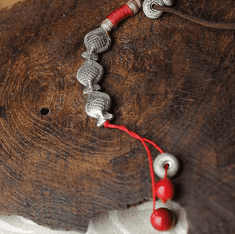 Image of Miao Silver Three Fish Necklace