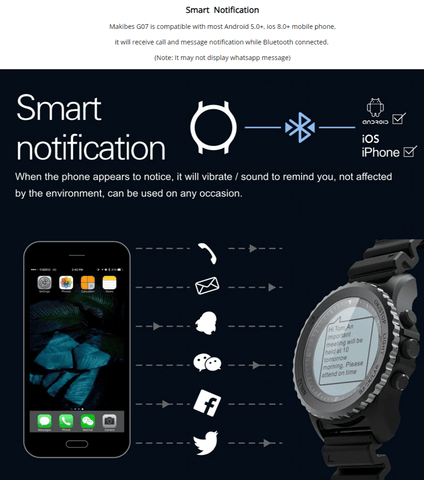Image of VIRTOBA store Smart Watches Makibes G07 GPS Watch