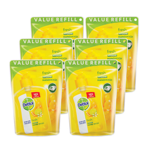 Dettol Hygiene Liquid Hand Wash Fresh Refill Pouch - 6 Pack of 200ml's - Cantomart.co.za