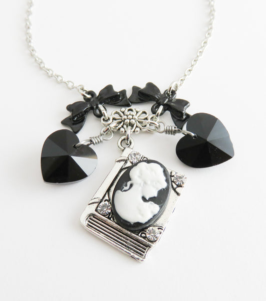 Black cameo necklace, neo victorian jewelry