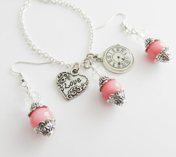 Romantic pink jewelry set