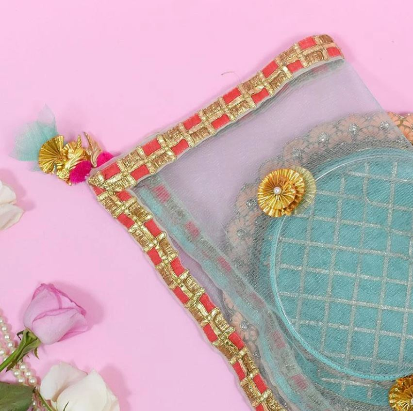 Bedazzle Blue Thali Cover