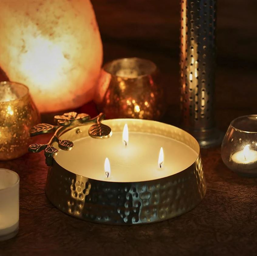 Brass Hammered Multi-Wick Scented Candle