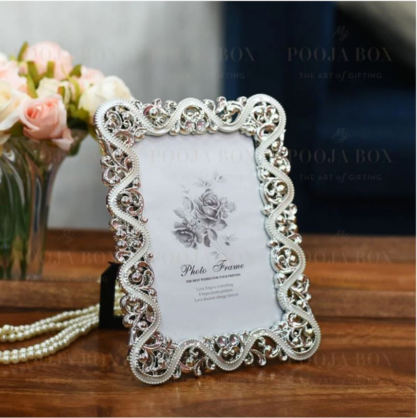 Classic Floral Silver Bordered Photo Frame