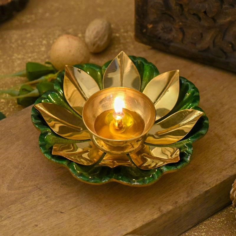 Decorative Lotus Diya Colored Base for Employees