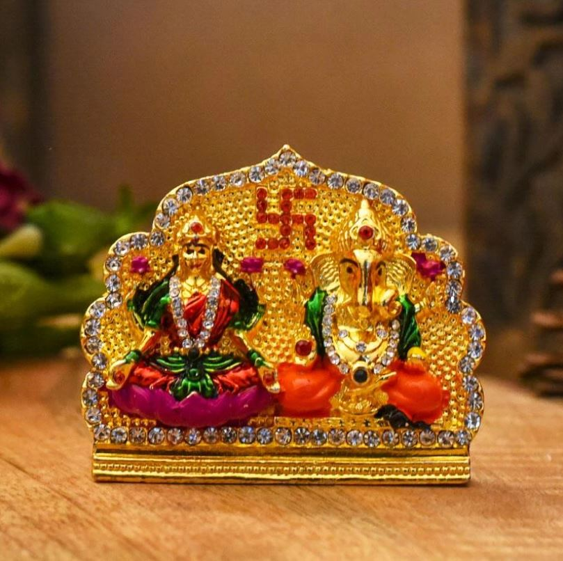 Diamond-Studded Laxmi Ganesh Murti with Swastik