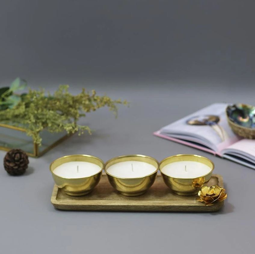 Exquisite Brass Scented Candle Platter