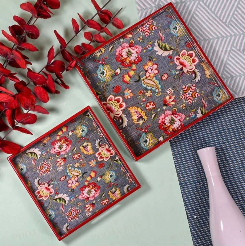 Grey Floral Serving Trays