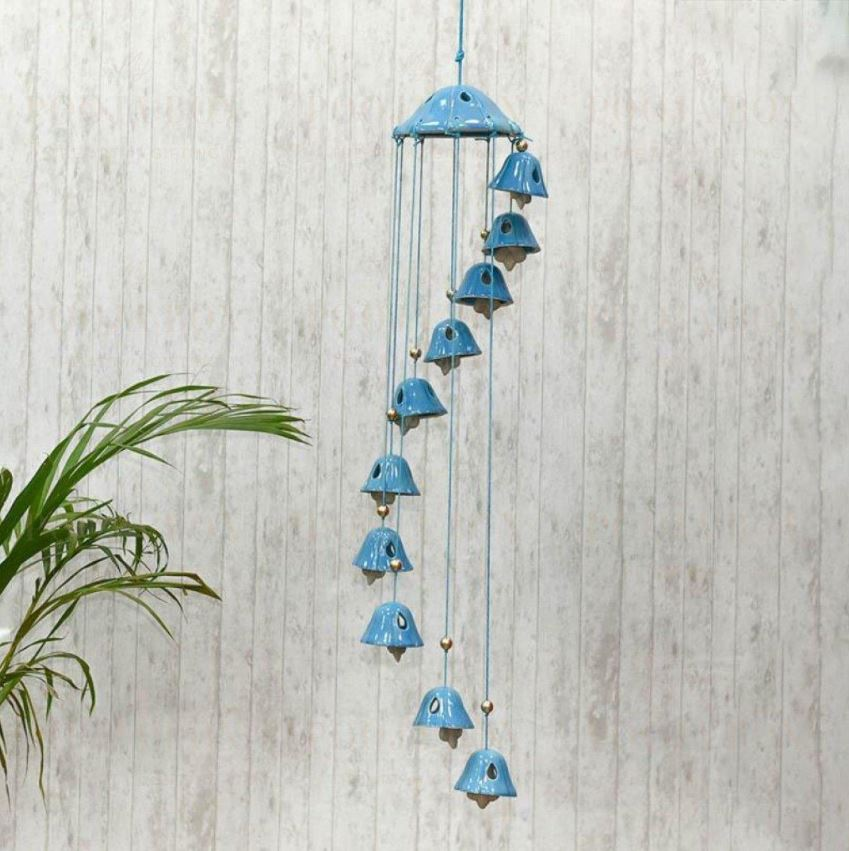 Handcrafted Blue Ceramic Wind Chime