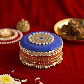 Handcrafted Colourful Round Steel Box