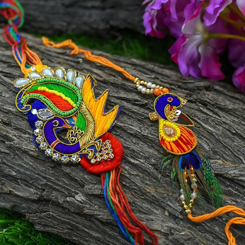 Shop Peacock Rakhis online at MyPoojaBox.in