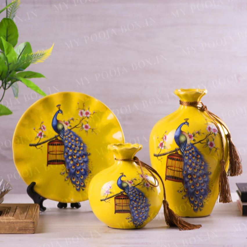 Porcelain Vase and Plate Table Top Decor