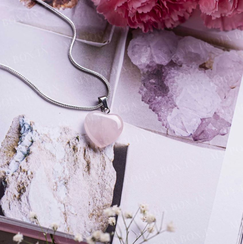 Rose Quartz Heart Pendant Necklace