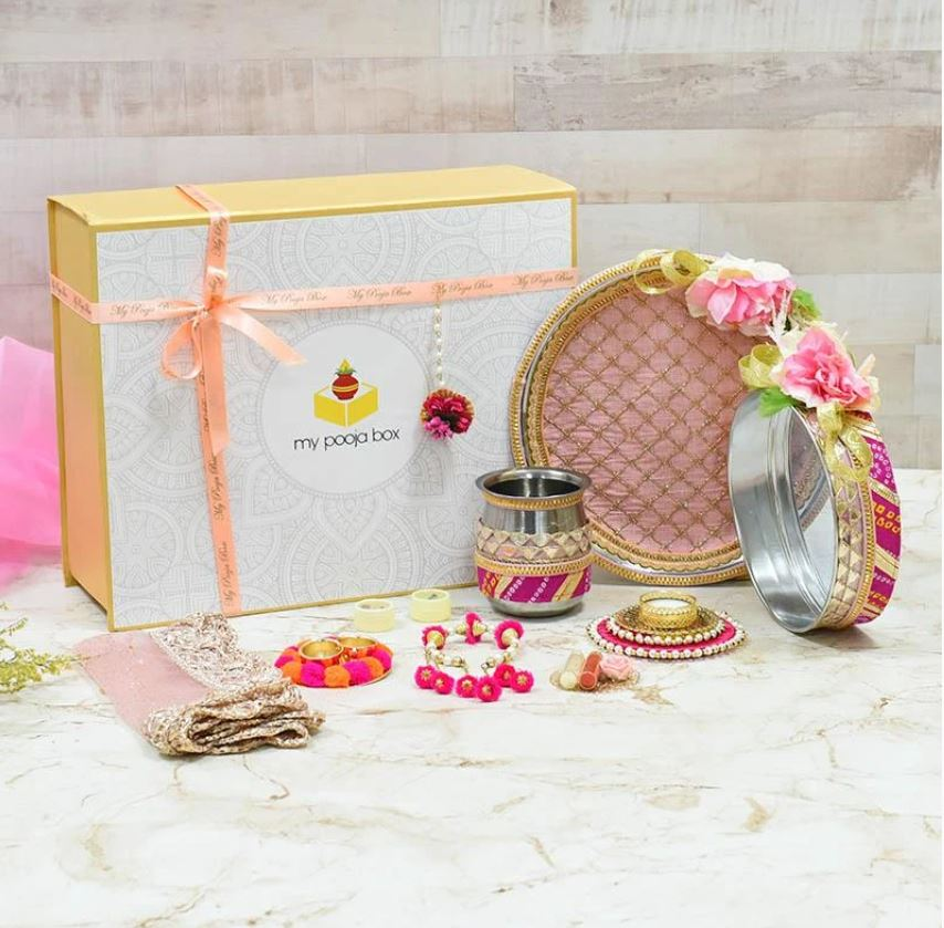 Rosy Pink Floral Karwa Chauth Gift Box