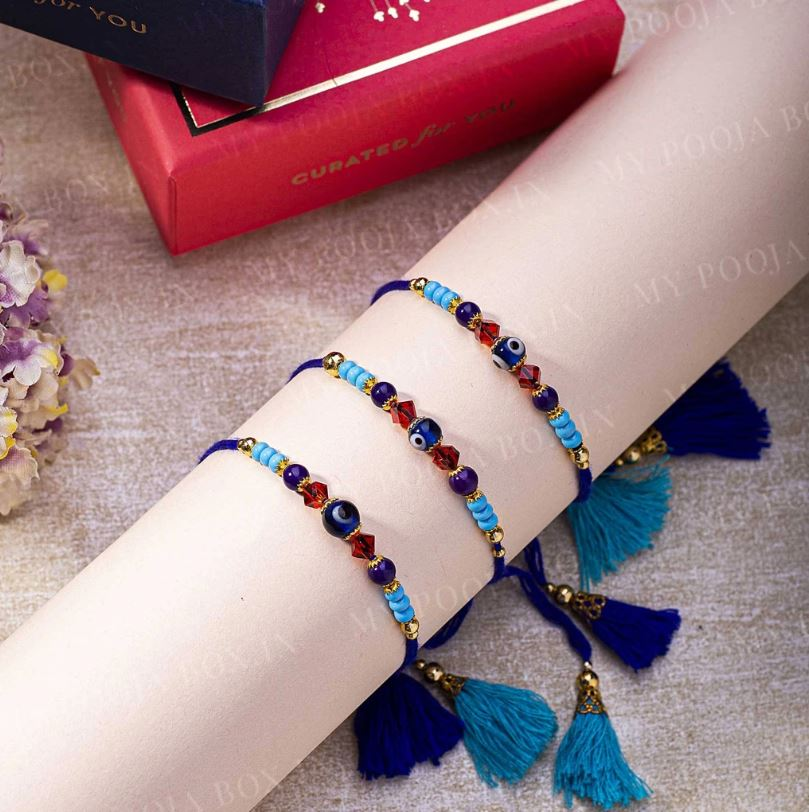 Evil Eye Bright Blue Protection Rakhi
