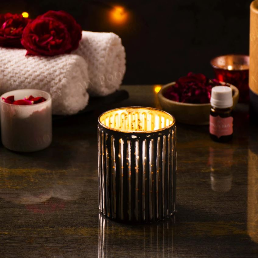 Stripped Sunset Scented Candle Jar