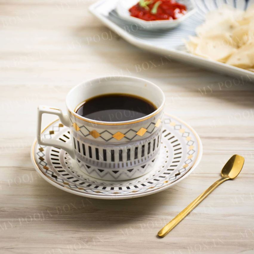 Vintage Design Cup, Spoon and Saucer Set