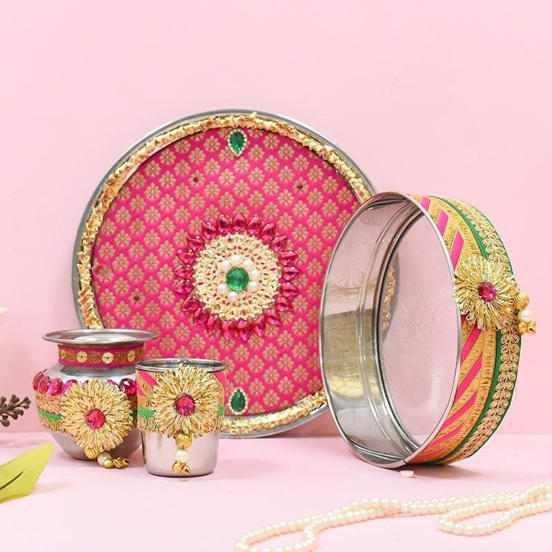 karwa chauth puja thali decoration with laces