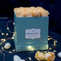 Light Peach Roses - Tiffany Blue Flora Box