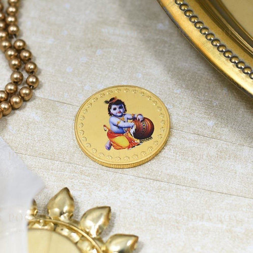 24K Gold Foil Bal Gopal Coin & Bar
