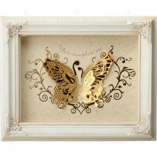 24K Gold Foil Butterfly Couple Framed Paintings