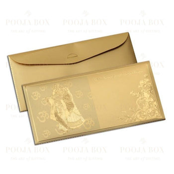 24K Gold Foil Radha Krishna Sagan Envelope (Set Of 12)