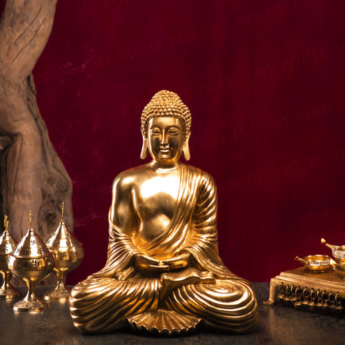 Antique Brass Lord Buddha Idol
