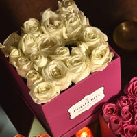 White Roses - Bright Pink Flora Box