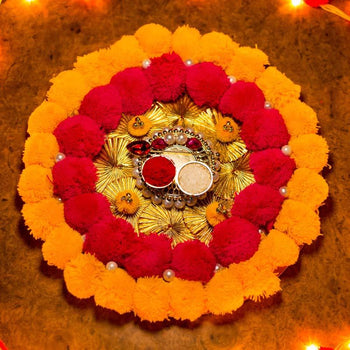 Red Yellow Pompom Decorative Tilak Akshat Thali