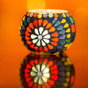 Handmade Mosaic Multicolored Candle Holder