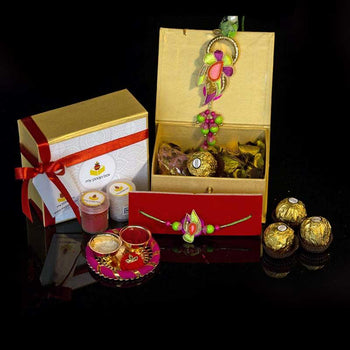 Traditional Petite Rakhi Box with Dry Fruits/Chocolate