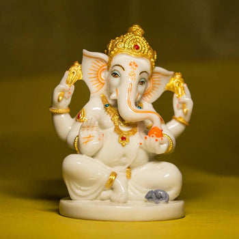 Exquisite Marble Lord Ganesha Figurine
