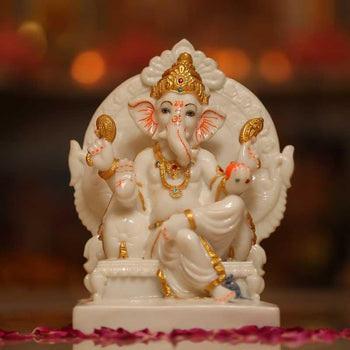 Handcrafted White Marble Ganesha Statue on Throne