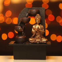 Captivating Lord Buddha Indoor Water Fountain with Four Ancient Vessels
