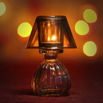 Gorgeous Golden Glass Candle Holder