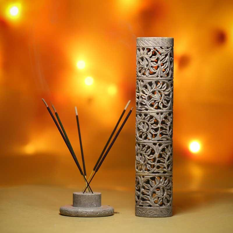 Handmade Multipurpose Marble Incense Holder with Traditional Artwork