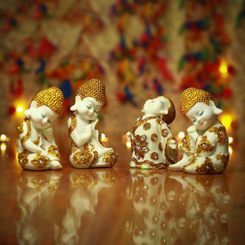 Pristine White and Gold Laughing Buddha (Set of 4)