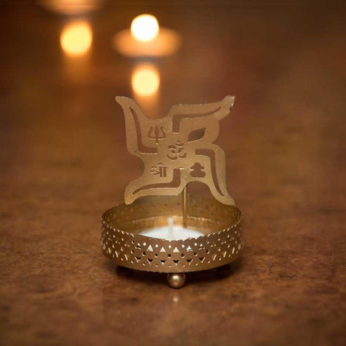 Auspicious Swastika Shadow Tealight/Candle Holder