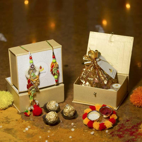 Colorful Bhaiya Bhabhi Rakhi Petite Box with Ferrero Rocher/Dry Fruits