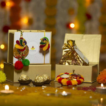Colourful Gotta Patti Resham Peacock Petite Rakhi Box with Ferrero Rocher/Dry Fruits