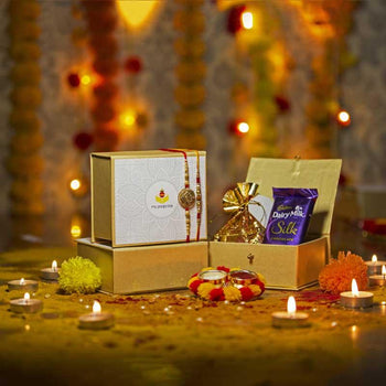 Petite Box with Set of Two Rakhis & Dairy Milk/Dry Fruits