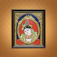 Bal Krishna Hand-Painted Tanjore Wooden Framed Painting