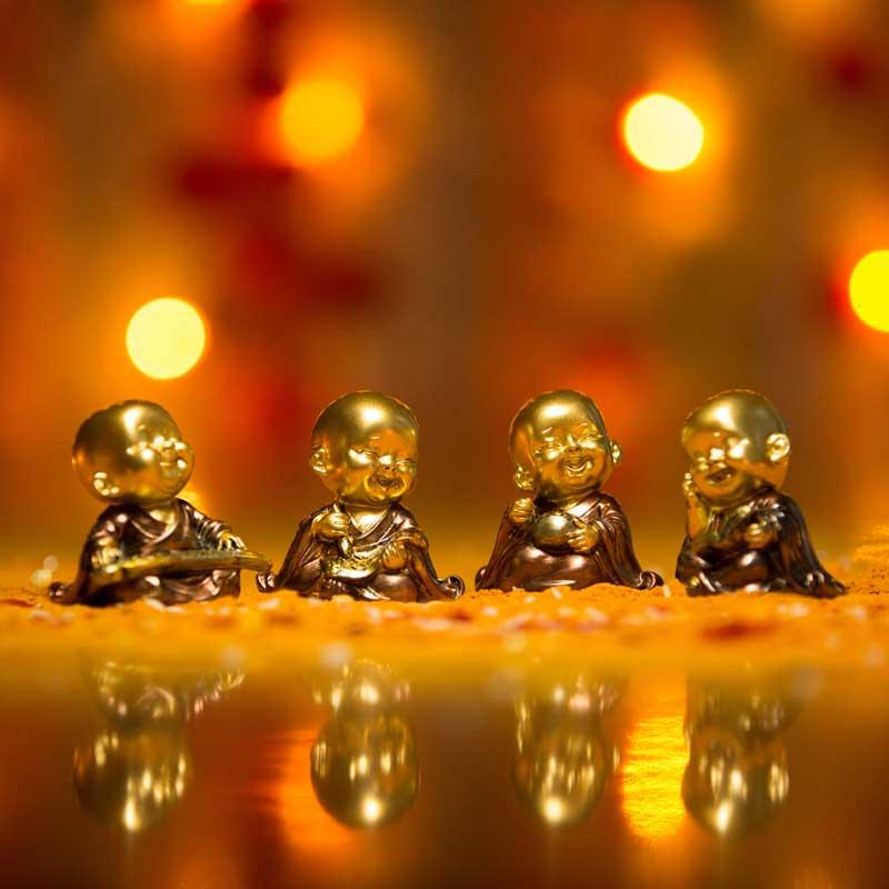 Golden Baby Monk Figurines Set of 4
